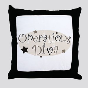 """""""Operations Diva"""" [brown] Throw Pillow"""